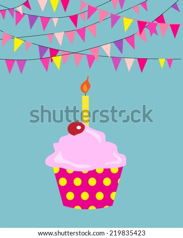 Birthday cupcake with candle with flags banner.  EPS10 vector format. - stock vector