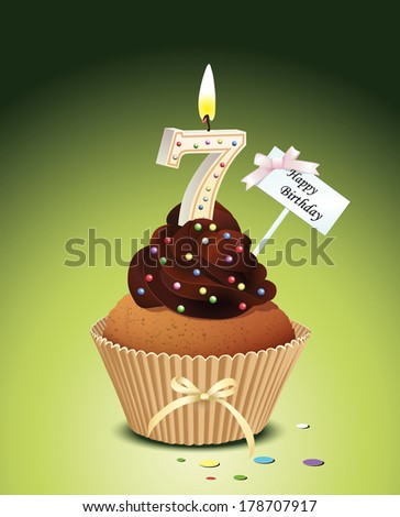 Birthday cupcake with lit candle in shape of number seven - stock vector