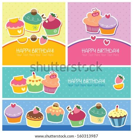 birthday dessert layout design - stock vector