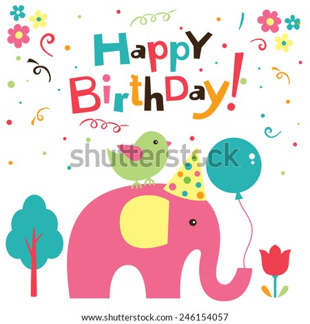 birthday elephant design - stock vector