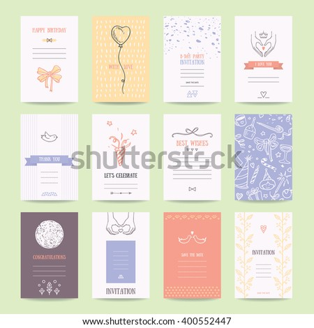 Birthday, engagement, wedding party invitations, greeting cards, flyers. Artistic templates collection with hand drawn design elements, brush strokes, trendy thin line icons, geometric symbols. - stock vector