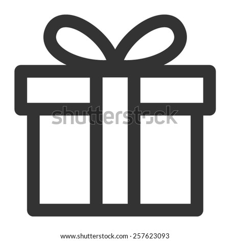 Birthday gift / Christmas gift box with ribbon bow line art icon for apps and websites - stock vector