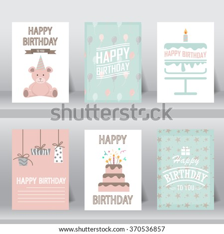 birthday, greeting and invitation card.  there are teddy bear, gift boxes, confetti, cup cake. vector illustration - stock vector
