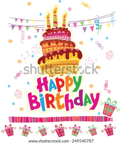 Birthday greeting card with cake - stock vector