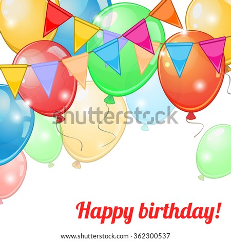 Birthday greeting card with colorful balloons and buntings - stock vector
