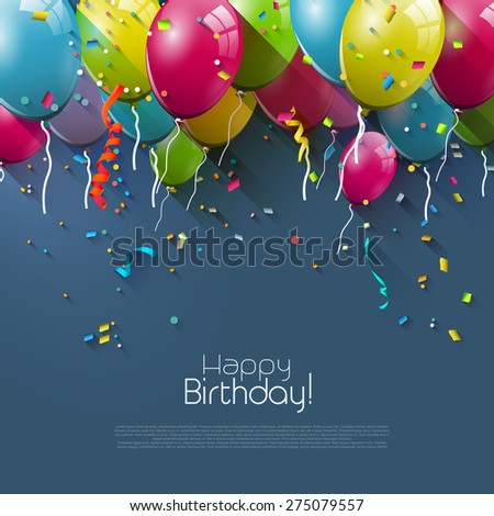 Birthday greeting card with colorful balloons and place for your text  - stock vector