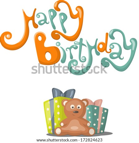 Birthday greeting card  with teddybear, gift and balloons - stock vector