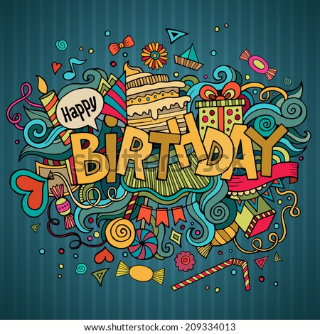 Birthday hand lettering and doodles elements background. Vector illustration - stock vector