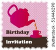 Birthday high tea invitation card design in vector - stock vector