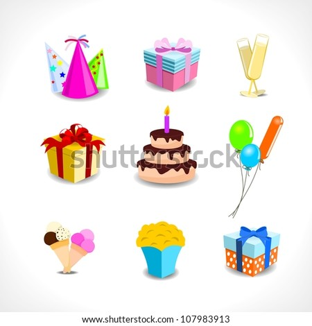 birthday icons - gifts, balloons, drinks, cake, popcorn - on white background - stock vector