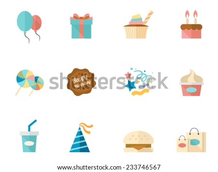 Birthday icons in flat colors style. - stock vector