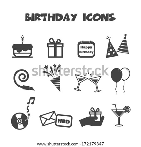 birthday icons, mono vector symbols - stock vector