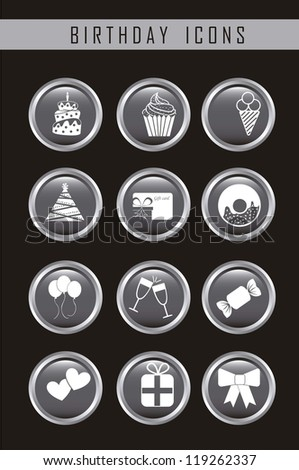 birthday icons over black background. vector illustration - stock vector