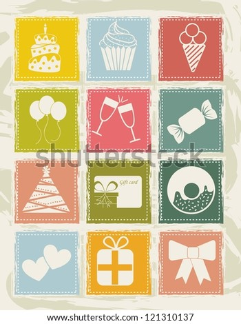 birthday icons over grunge background. vector illustration - stock vector