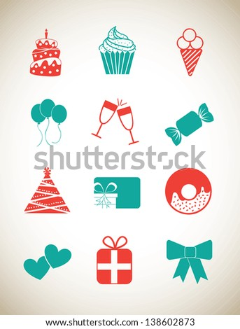 Birthday icons over white background vector illustration - stock vector