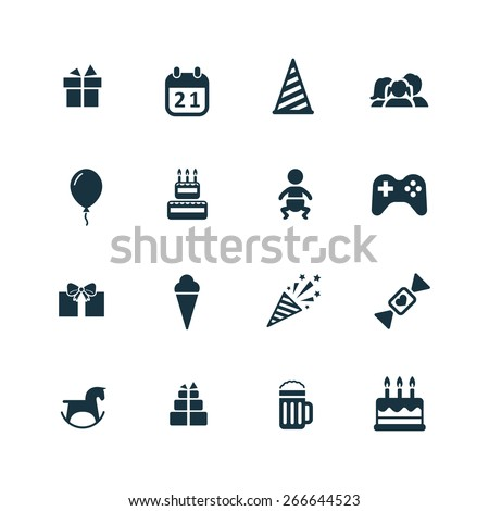 birthday icons set on white background  - stock vector