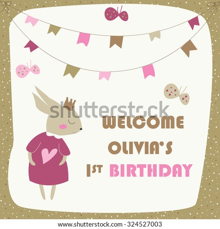 Birthday invitation with cute bunny, banners and butterflies  in cartoon style - stock vector