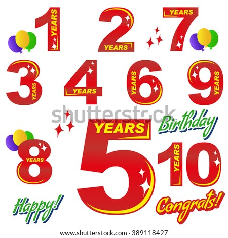 birthday - numbers and elements for greeting cards and banners. Lettering - congratulations, happy, birthday, 1, 2, 3, 4, 5, 6, 7, 8, 9, 10. - stock vector