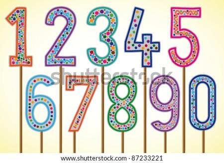Birthday numbers - vector illustration - stock vector
