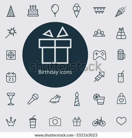 birthday outline, thin, flat, digital icon set for web and mobile - stock vector