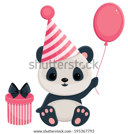 Birthday panda with gift box and balloon. Panda in pink - stock vector