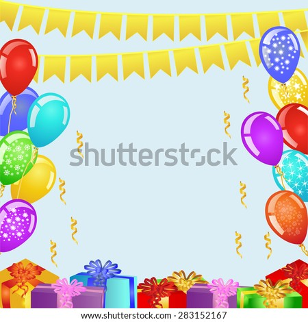 Birthday party background with bunting flags, balloons and gift boxes. EPS 10 vector illustration - stock vector