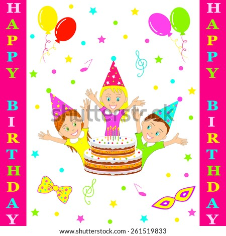 Birthday party card.boy and girl smiling cheerfully raising his hands against the background of a celebratory cake, illustration, vector - stock vector