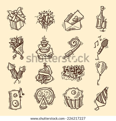 Birthday party celebration sketch decorative elements set with cake gifts champagne glass isolated vector illustration - stock vector