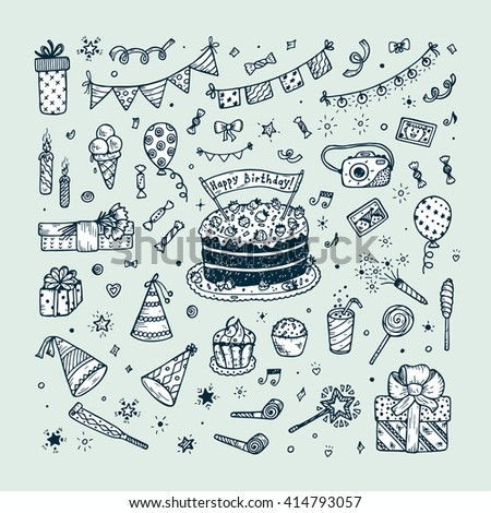 Birthday party elements vector set. Happy birthday. Birthday elements. Hand Drawn Doodle birthday cake, sweets, bunting flag, balloons, gift, festive paper cap, festive attributes  - stock vector