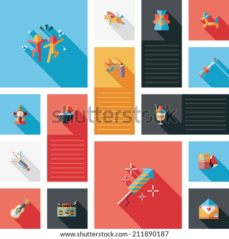 birthday party flat ui bakcground set - stock vector