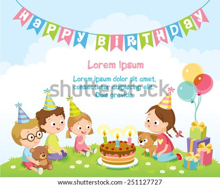 birthday party for kids - stock vector
