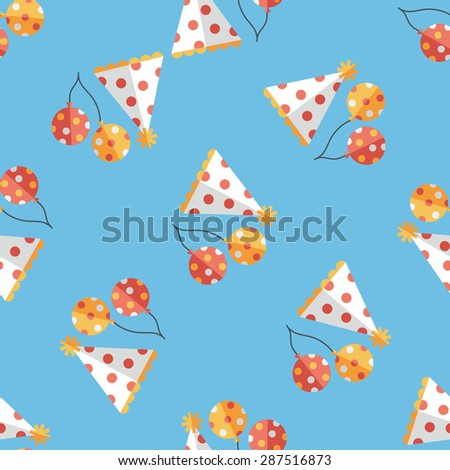 birthday party hat flat icon,eps10 seamless pattern background - stock vector