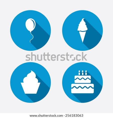 Birthday party icons. Cake with ice cream signs. Air balloon with rope symbol. Circle concept web buttons. Vector - stock vector