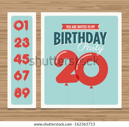 Birthday party invitation card, balloons numbers, vector design template - stock vector