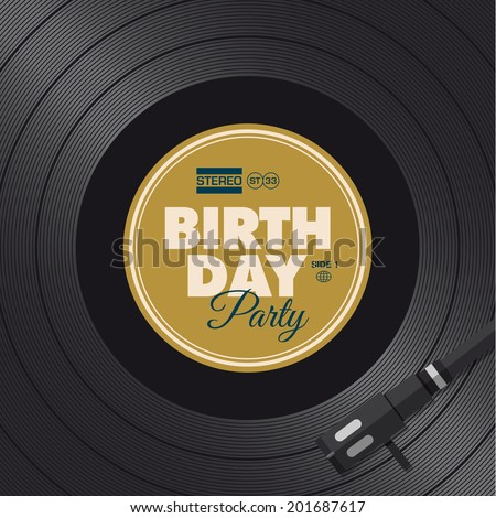 Birthday party invitation card. Vinyl illustration background, vector design editable.  - stock vector