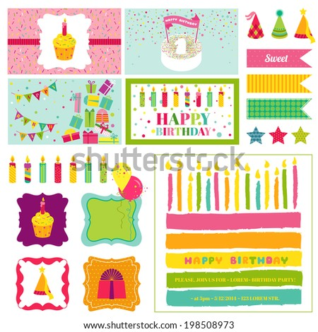 Birthday Party Invitation Set - for Birthday, Baby Shower, Party Decoration - in vector - stock vector