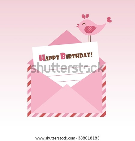 Birthday pink envelope with bird - stock vector
