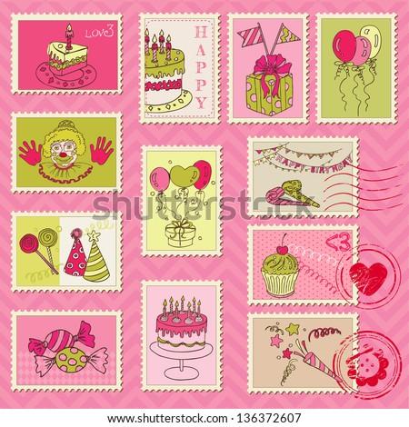 Birthday Postage Stamps - for scrapbook, invitation, congratulation - in vector - stock vector