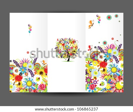 Birthday postcard, cover page. Design for your print - stock vector