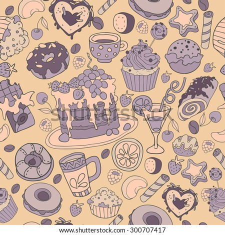 Birthday seamless pattern with cakes, cupcakes, tea, donuts, coffee and fruits. Colorful birthday wallpaper.  vector hand drawn background - stock vector