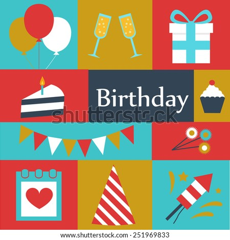 birthday set, vector icons flat design. - stock vector