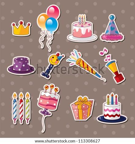 birthday stickers - stock vector