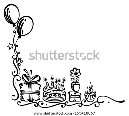 Birthday tendril with balloons - stock vector