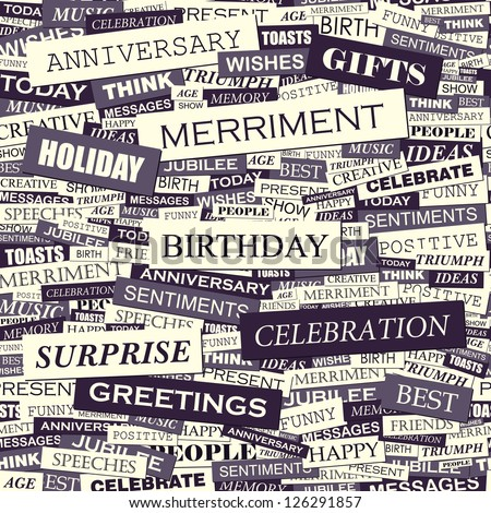 BIRTHDAY. Word collage. Seamless illustration. - stock vector