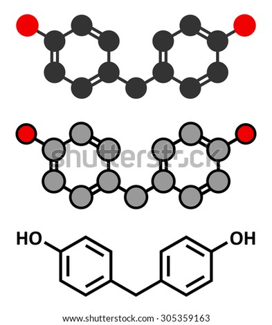 Bisphenol F (BPF) molecule. Alternative for bisphenol A (BPA). Stylized 2D renderings and conventional skeletal formula. - stock vector