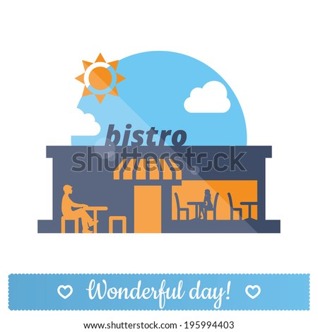 Bistro, street cafe, restaurant flat icon: vector illustration of man and woman at lunch. Sunny summer day. - stock vector
