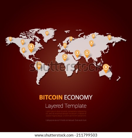 Bitcoin currency symbol on the world map - stock vector