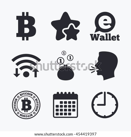 Bitcoin icons. Electronic wallet sign. Cash money symbol. Wifi internet, favorite stars, calendar and clock. Talking head. Vector - stock vector