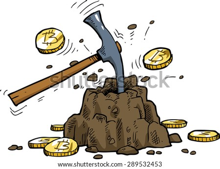 Bitcoin mining on a white background vector illustration - stock vector