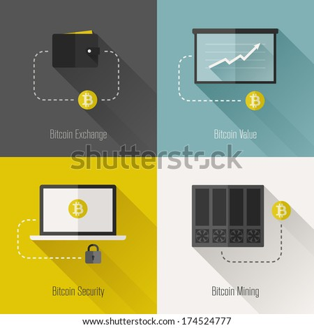Bitcoin modern flat design elements - stock vector